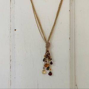 Gold Tone Knot Tassel Necklace with stone …